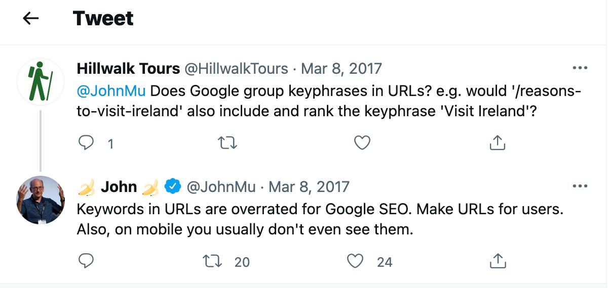 John Mueller tweet